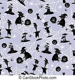 Seamless Pattern, Halloween Symbols