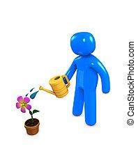 Watering - 3d image, conceptual, watering - flower, watering...