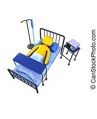 Patient - 3d image, conceptual patient, hospitalize