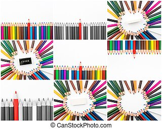 Photo collage of Colouring pencils isolated on white...