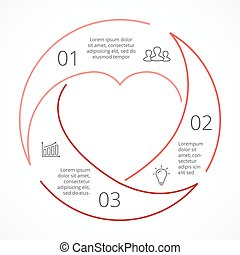 Vector heart circle linear infographic. Template for love cycle diagram, graph, presentation, round chart. Business concept with 3 options, parts, steps, processes. Happy Valentines Day.