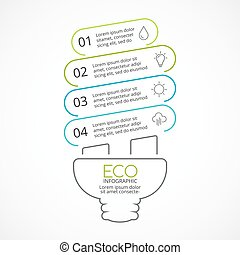Vector energy efficient light bulb eco linear infographic....