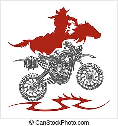 Motocross Moto and Horse - vector emblem on white background