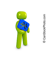 Icon guy, Bluetooth - 3d image, conceptual Bluetooth icon