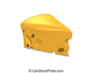 Cheese - 3d image, conceptual, a slice of cheese