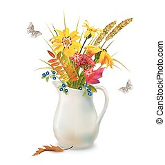 Autumn Flowers in Jug - Vector autumn bouquet in ceramic jug...