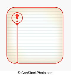 Red box with lined paper and exclamation mark