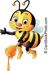 Cartoon bee holding honey dipper - Vector illustration of...
