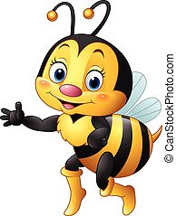 Cartoon bee waving hand - Vector illustration of Cartoon bee...