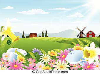 Rural landscape with flowers