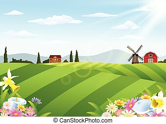 Farm landscape with barn and windmi
