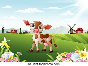 Cartoon cow in rural landscape - Vector illustration of...