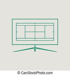 Tennis TV translation icon. Gray background with green....