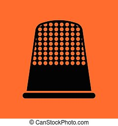Tailor thimble icon Orange background with black Vector...