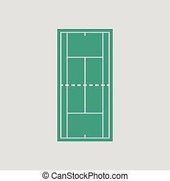 Tennis field mark icon. Gray background with green. Vector...