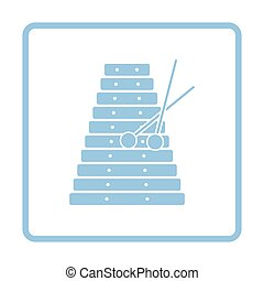 Xylophone icon. Blue frame design. Vector illustration.