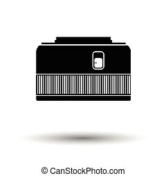 Icon of photo camera 50 mm lens. White background with...