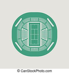Tennis stadium aerial view icon. Gray background with green....