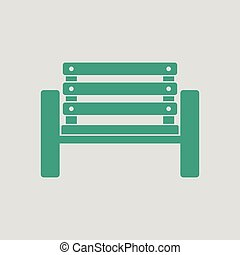 Tennis player bench icon. Gray background with green. Vector...