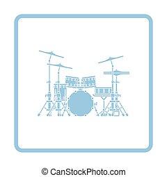 Drum set icon. Blue frame design. Vector illustration.