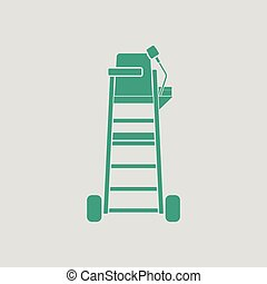 Tennis referee chair tower icon. Gray background with green....