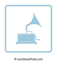 Gramophone icon Blue frame design Vector illustration