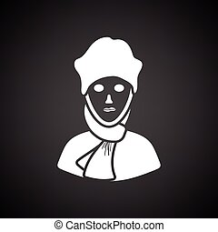 Poet icon. Black background with white. Vector illustration.