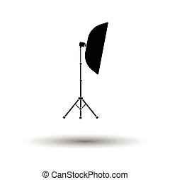 Icon of softbox light. White background with shadow design....