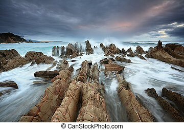 Barraga Bay Coastline with Wild Seas - Scary wild seas,...