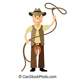 Vector Cowboy with lasso. Flat style colorful Cartoon...