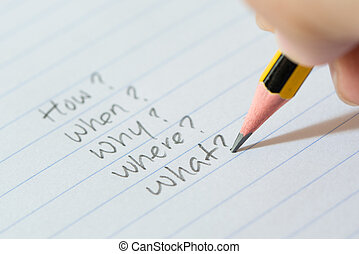 Questions on paper - Hand writing questions on paper for...