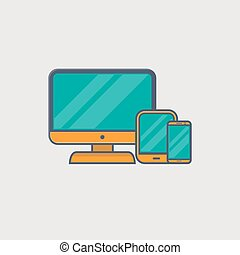 Responsive design - Line icons of computer monitor, tablet...