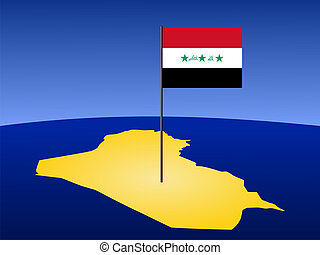 map of Iraq with flag