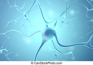 Neurons in the brain with focus effect. 3d rendering.
