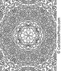 Kaleidoscope theme. Vector Seamless Abstract Black and White...
