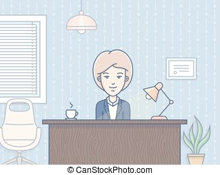 Woman in office - Human Resource Business Concept - woman...