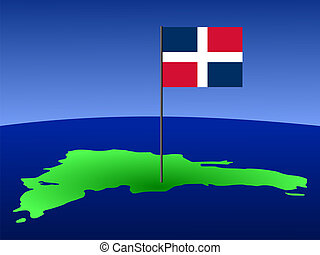 map of Dominican Republic with flag