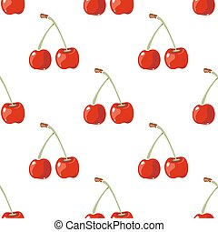 Red cherry vector seamless background. Wallpaper with fresh...