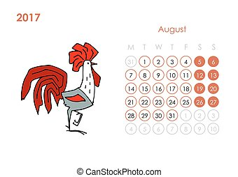 Rooster calendar 2017 for your design. August month. Vector...