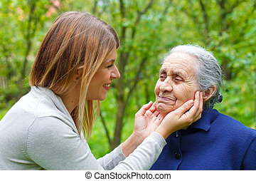 Grandma-grandchild quality time - Picture of proud old woman...