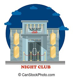 Night club facade with entrance and lights. Building or...