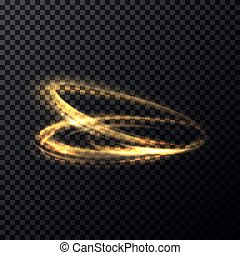 Glowing flying in rings particle with trail or tail. Luminous lines with swirl effect on transparent background. Abstract sparkle movement with radiance and shading flash, blur