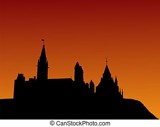 Canadian parliament at sunset with beautiful sky...