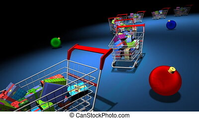 Christmas shopping - Shopping carts with gifts