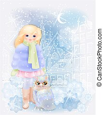 Young girl and fairytale owl in the snowy city. Christmas...