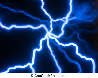 Glowing blue electric currents traces - Picture of random...