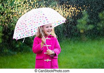 わずかしか, 傘, 女の子, 雨