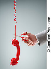 Scissors cutting telephone connection concept for wireless...