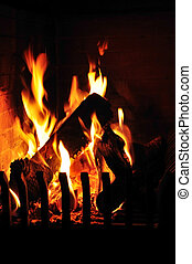 Fire in the fireplace - A fire is burning in the open...