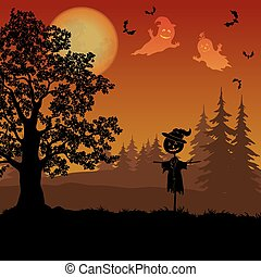 Halloween Landscape with Scarecrow